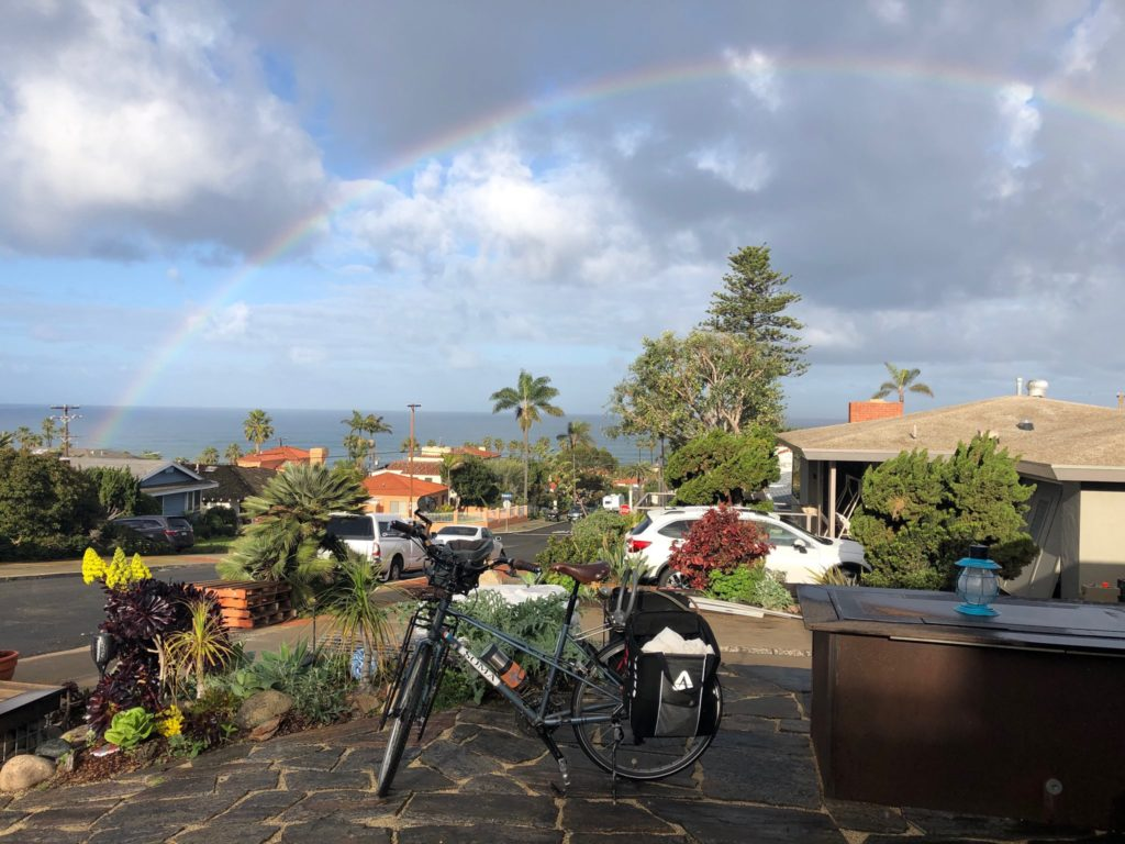 Rainbow over bike
