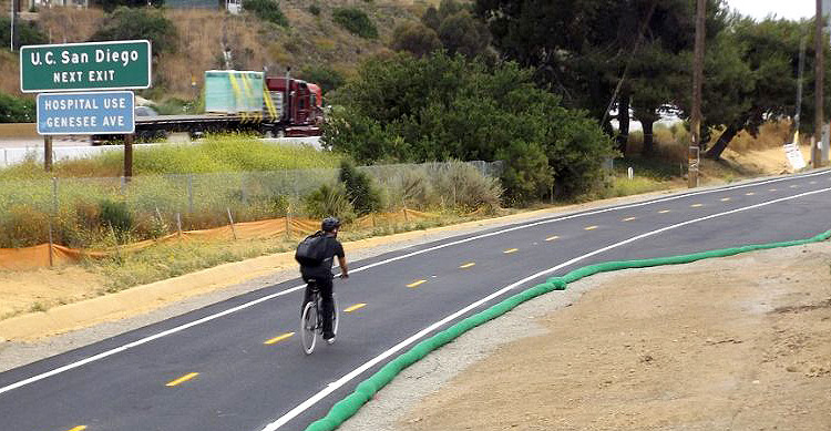 The approximately one-and-a-half mile stretch of upgraded bike path runs along Interstate 5 (I-5) from the northernmost point of Santa Fe Street to Gilman Drive/La Jolla Colony Drive and will be used by more than 400 bicyclists daily.