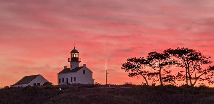 The park includes the Old Point Loma Lighthouse, first illuminated in 1855.